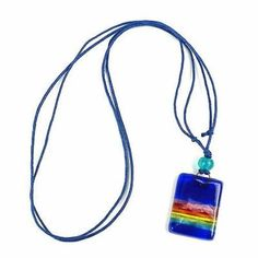 Deep Blue Rainbow Fused Glass Pendant Necklace - Tili Glass