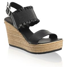 030d32532f6 ROUCHE Slingback Wedge in Black Leather
