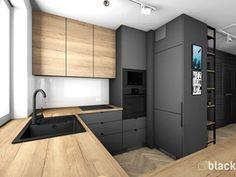 Galley Kitchen Design, Luxury Kitchen Design, Kitchen Room Design, Kitchen Layout, Interior Design Kitchen, Kitchen Decor, Small Modern Kitchens, Black Kitchens, Home Kitchens