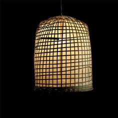 "Bamboo and Rice Paper Hanging Lamp / 24"" tall, diameter ~16"" / via Artemano"