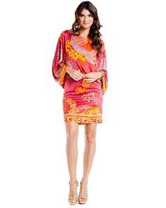 Hale Bob Red Printed Silk Shift Dress