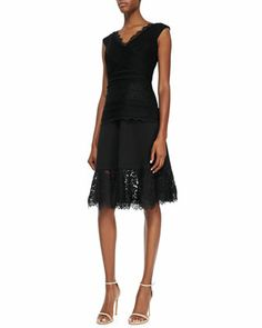 V-Neck Cap-Sleeve Lace Top & Lace-Hem Full Skirt by Tadashi Shoji at Neiman Marcus.