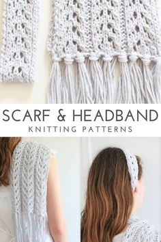 Looking for pretty knitting patterns for a lace scarf and headband? This easy to follow knitting pattern bundle will make the perfect ensemble gift for the stylish woman or teen on your list. Get the pattern bundle on ETSY! #scarfknittingpattern #summerknits #lacescarfpattern #headbandknittingpattern #knittingpattern Summer Knitting, Easy Knitting, Knitting Stitches, Knitting Patterns Free, Sewing Patterns, Crochet Patterns, Knit Headband Pattern, Knitted Headband, Scarf Patterns