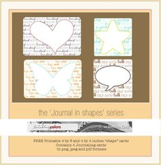 Printable -- Journal in Shapes Series. Plus lots more great journal cards!