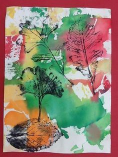 Artsonia Art Museum :: Artwork by Dyan7; grade 1.  Watercolor background fall colors, then leaf print.