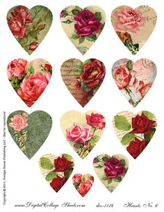 Vintage images of roses and old paper are captured within a heart shape. 12 hearts on 1 sheet. This x digital file is available to print from your hom Vintage Labels, Vintage Cards, Vintage Images, Vintage Paper, Vintage Valentines, Valentines Day, Victorian Valentines, Valentine Hearts, Paper Art