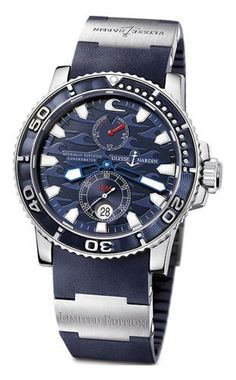 Ulysse Nardin Men's 263-36LE-3 Blue Surf Limited-Edition Watch Ulysse Nardin. $5850.00. Case diameter: 42.7 mm. Water-resistant to 660 feet (200 M). Scratch-resistant-sapphire crystal. Quality Automatic movement; Functions without a battery; Powers automatically with the movement of your arm. Stainless-steel case; Blue dial; Date function