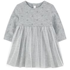 Synthetic tulle Viscose and polyester knit Fine knit Super soft Pleasant to wear Dress: Crew neck Long sleeves Very flared bottom Snap buttons in the back Spot print Glittery patterns - £ 90 Baby Girl Dress Patterns, Little Girl Dresses, Girls Dresses, Kids Winter Fashion, Kids Fashion, Cute Baby Clothes, Baby Girl Fashion, Baby Sewing, Girl Outfits