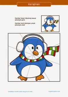 kerajinan gunting tempel PAUD (balita/TK) : buat sendiri puzzle pinguin