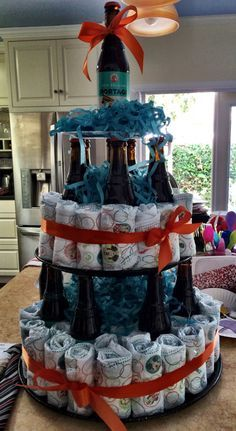 Beer and diaper cake for a man's baby shower