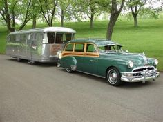1950 Chevrolet Styleline De Luxe Station Wagon and Airstream trailer Vintage Caravans, Vintage Travel Trailers, Vintage Campers, Vintage Motorhome, Camper Caravan, Camper Trailers, Diy Camper, Cars Vintage, Antique Cars