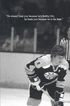 """""""He doesn't beat you because he's Bobby Orr; he beats you because he is the best."""" (Heroic photo) Bobby is one of the best hockey players to ever take the ice, and he should be remembered for his determination and passion on the ice. Hockey Games, Hockey Players, Boston Bruins Hockey, Chicago Blackhawks, Bobby Orr, Hockey Quotes, Boston Sports, Boston Strong, National Hockey League"""