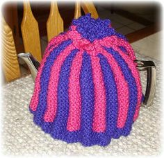 "this is the ""proper english tea cosy"" I am working on, only in maroon and blue! I love it and it is any easy project!"