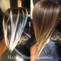 Hand painted balayage hair matrix Long hair ombré hair by Crystal Goodman