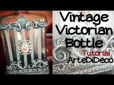 DIY Vintage Βικτοριανό μπουκάλι, με ριγέ εφέ αμμοβολής! ArteDiDeco [CC] Bottle Art, Diy, Decoupage, Vintage, Youtube, Business Ideas, Reuse, Glass, Bottles