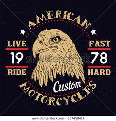American Eagle Motorcycle Emblem.Vintage typography design for biker club,custom shop,t-shirts,prints. - stock vector