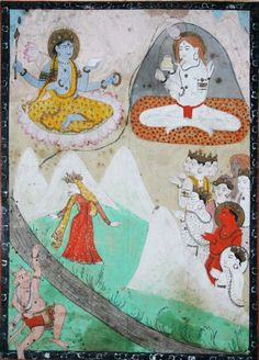 Markandeya Purana illustration of the Devi Mahatmya scene in which the devas (male gods) turn to the Devi when all else fails. Gouache and gold on paper. Mughal Paintings, Indian Paintings, Arte Shiva, Art Indien, Yoga History, Les Religions, India Art, Gods And Goddesses, Religious Art