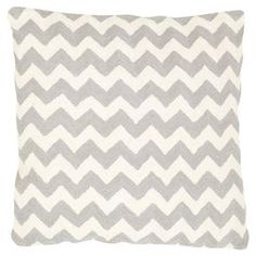 """This product is sold in sets of 2.Add a pop of pattern to your favorite chaise or arm chair with this cotton canvas pillow, featuring a chevron pattern in light gray.  Product: Set of 2 pillowsConstruction Material: Cotton canvas cover and cotton fillColor: Light greyFeatures:  Made in IndiaInserts includedHand-stitched Dimensions: 18"""" x 18"""""""