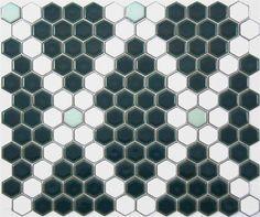 Lyric Rose and Trellis Hexagon Tile Mosaic Pattern in Teal and Celadon Green and White Porcelain Hexagon Tile, Hexagon Mosaic Tile, Hex Tile, Penny Tile, Tiling, Floor Patterns, Mosaic Patterns, Hexagon Pattern, Mosaic Tile Supplies