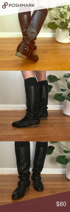 Coach Leather Riding Boots These are so gorgeous with freshly shined leather and beautiful hardware! They're perfectly worn in and go with everything! They are approximately 15 inches from floor to top and have about a 15 inch circumference. Coach Shoes