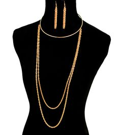 #99CENT #Ebay #Auction!♥♥♥ #GOLD #CHOKER DOUBLE #ROPE Statement #Necklace DRAPE Metal #Chain - (NECKLACE ONLY) #CelebrityInspiredHipHop #CHOKERROPEDrapeStatementNecklace #FemaleFunk #Jewelry
