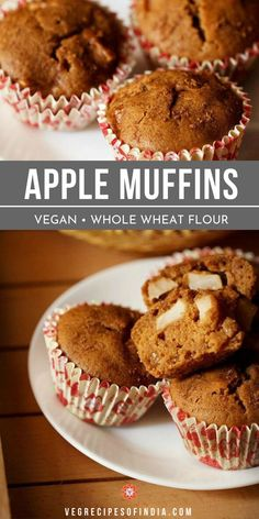 Eggless apple muffins are an easy vegan recipe that is perfect for breakfast or a snack any day of the week! This healthy recipe is made with whole wheat flour and is full of apple and cinnamon flavor that everyone loves, especially during the fall. If you love the combination of apple and cinnamon then you will love these muffins! Try them this week! #eggless #vegan #healthy #egglessapplemuffins #breakfast #snacks Apple Bread Recipe Healthy, Vegan Apple Muffins, Apple Cinnamon Muffins, Easy Bread Recipes, Vegan Recipes Easy, Muffin Recipes, Cake Recipes, Veg Recipes, Cooking Recipes