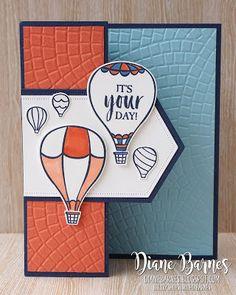 Hot air balloon tri-fold card for guys - Birthday Month Masculine Birthday Cards, Birthday Cards For Men, Masculine Cards, Male Birthday, Birthday Month, Small Balloons, Up Balloons, Tri Fold Cards, Folded Cards