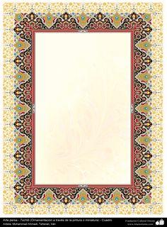 Persian Art - Tazhib (Ornamentation through painting or miniature) -Frame - 33 Frame Border Design, Boarder Designs, Calligraphy Borders, Islamic Art Calligraphy, Borders For Paper, Borders And Frames, Islamic Art Pattern, Pattern Art, Doodle Frames