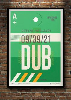 Dublin Flight Tag Print by Neil Stevens