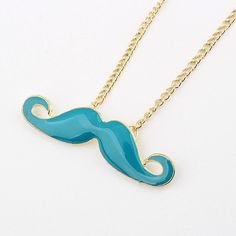 Blue Mustache necklace ,long necklace Mustache pendant, Mustache jewelry necklace--N13. $2.79, via Etsy.