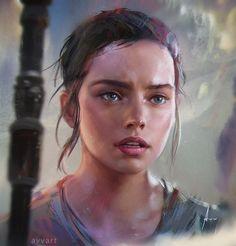 "deviantart: ""spassundspiele: "" Rey – Star Wars: The Force Awakens fan art by Aleksei Vinogradov "" (ノ◕ヮ◕)ノ*:・゚✧: http://avvart.deviantart.com/ """