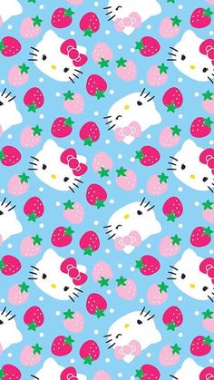 Springs Creative Hello Kitty Fleece Strawberry Toss Light Blue wide Fabric by the Yard Hello Kitty Backgrounds, Hello Kitty Wallpaper, Pink Wallpaper Iphone, Cute Wallpaper Backgrounds, Cellphone Wallpaper, Phone Backgrounds, Hello Kitty Pictures, Kitty Images, Hello Kitty Art