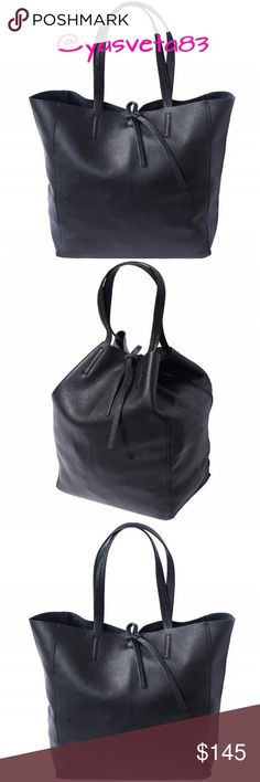 """Shopping Bag Italian Genuine Leather Made in Italy Condition: New. Country: Handcrafted in Italy, Florence. Material: Genuine Leather. Measurements:  length 11.7"""", width 5.9"""", height 13.8"""", handle 18.8"""". Closure type: laced closure. Double shoulder handle, leather drawstring closure, suede lining inside. Vera Pelle Bags Shoulder Bags"""