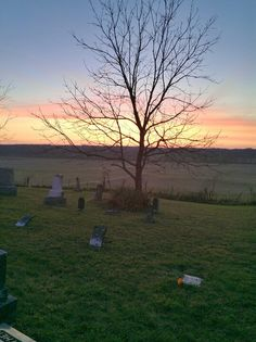 Sunset in a cemetery