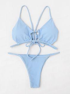 ¡Cómpralo ya!. Braided Strap Tie Back Bikini Set. Blue Bikinis Sexy Vacation Push Up Polyamide YES Swimwear. , bikini, bikini, biquini, conjuntosdebikinis, twopiece, bikini, bikini, bikini, bikini, bikinis. Bikini de mujer de SheIn.