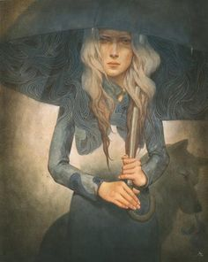 #Art by Tran Nguyen, beautifully captivating and even the drab colors make the viewer feel like they are in the painting, not wanting to get wet.