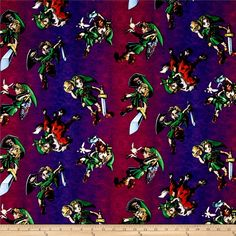 Nintendo Zelda Toss Purple from @fabricdotcom  Licensed by Nintendo to Springs Creative Products, this cotton print is perfect for quilting, apparel and home décor accents. Colors include black, purple, brown, green, pink, orange, blue, tan and yellow. This is a licensed fabric and not for commercial use.