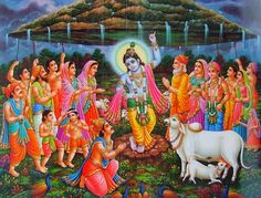 Krishna Lifts the Govardhan Hill. Once in the beautiful land of Vraja, For Lord Indra they wanted to do a puja Begging to Indra to supply them rain So that in time they can harvest their grain Seeing this Krishna was not happy, Krishna Sudama, Krishna Flute, Krishna Leela, Yashoda Krishna, Hanuman, Lord Krishna Images, Krishna Pictures, Krishna Photos, Happy Govardhan