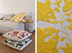 ollI technique and tradition brass sofa comfort luxury glass table stitched yellow golden hand embroidered cushions otomi luxury craft