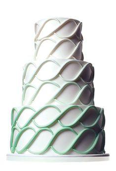 Three-tier mint green and white wedding cake   Cake by Mark Joseph