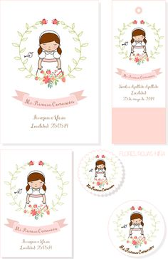 tyna party: Recordatorios Primera Comunión para niñas First Communion Cards, First Communion Invitations, First Holy Communion, Handmade Invitations, Happy Eid, Custom Art, Small Gifts, Holidays And Events, Christening