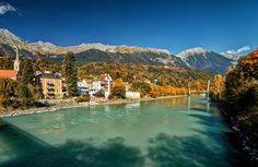 Das Farbenspiel zwischen Inn, Bergen, Stadt und Himmel. Innsbruck, Bergen, All Pictures, Austria, Germany, River, Fall, Outdoor, Pictures
