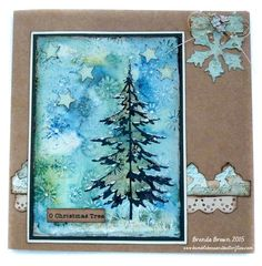 handmade Christmas card from Bumblebees and Butterflies: Oh Christmas tree for AVJ ... multi media ... explanation on the blog ..