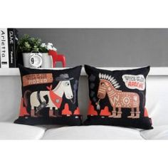 West Cowboy Indian Horse Pattern Cushion Cover