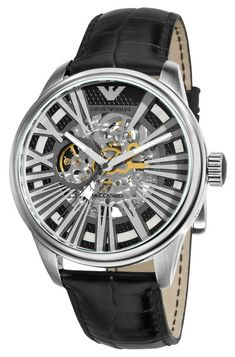 72e0b7bbb0e EMPORIO ARMANI Meccanico Skeleton Leather Watch For Men.   EmporioArmaniWatches  WatchesForMen  MenWatches  . PretoRelógios Para  Homens ...