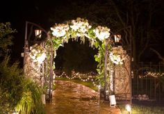 Incredible garden wedding! What a stunning arch way!  Florals by Hydrangea Floral and lighting by Innovative Event Solutions. Planned by The Wedding Belle.   Photo by Chris Humphrey Photographer  #incredible #outdoor #garden #wedding