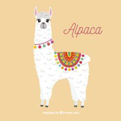 Fondo de linda alpaca Alpacas, Illustration Blume, Cute Illustration, Alpaca Cartoon, Llamas Animal, Alpaca Drawing, Llama Decor, Llama Face, Llama Arts