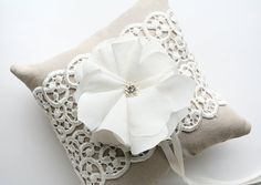 Rustic Ring Bearer Pillow, Lace Ring Pillow