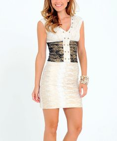 Look what I found on #zulily! White Contrast Panel V-Neck Dress #zulilyfinds