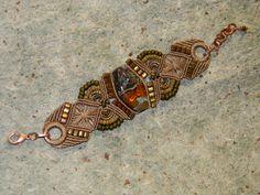 My buddy Pat from her Wigglebutt blog.  Beautiful bead macrame bracelet!